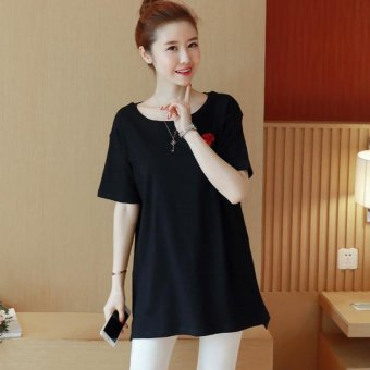 Harga Small Wow Maternity Korean Round Neck Print Cotton Short Sleeve T-shirt Black - intl