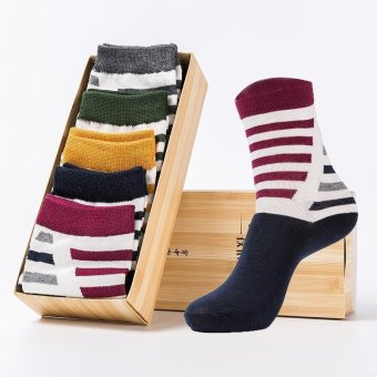 Harga Buy Buy Shop 5 Pairs Men's Socks Sport Casul Stocking Assorted Stripes Males Comfortable Cotton - Intl