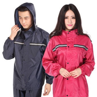 Harga Cheap waterproof raincoat rain pants poncho riding suit motorcycle electric vehicles to increase the reflective work clothes (Single-navy blue)