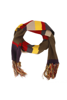 Harga RIS Doctor Who Artificial Wool Striped Fringe Shawl Scarf Wrap(Export)