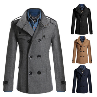 Men's Fashion Coat Double Breasted Woolen Trench Coat Slim and Long Sections Winter Jackets (Grey) - intl