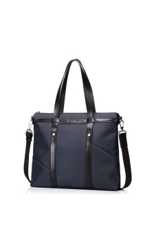 SAMMONS Men Waterproof Nylon & Genuine Leather Purse Hand Bag Large Tote Shopper Laptop (Navy Blue)