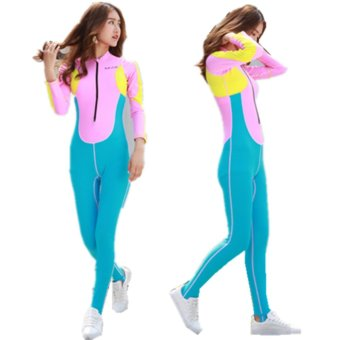 Wetsuit Women Zipper Swimsuit Full Body Jumpsuits Diving suit Rash Guard Wetsuits for Swimming Surfing Sports Clothing-Pink - intl
