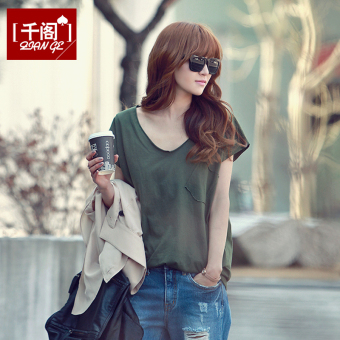 Harga Simple Linen spring and summer New style v-neck t-shirt