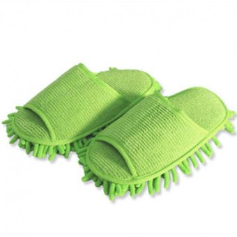 Harga 1 Pair High quality lazy couple home slipper chenille washable mopping slippers (Green)(Intl)