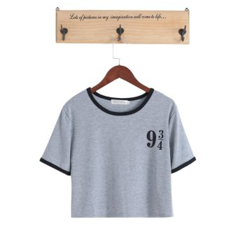 Harga Women Funny Short Platform 9 3 4 Harry Potter T Shirt Cotton O-Neck Top Tee(S,Gray) - intl