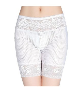 Harga Women Ice Silk Lace Safety Pants Dance Yoga Sport Short legging Underwears Boxers Boyshort (White)