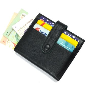 Harga Man Wallet Leather Cowhide Small Wallets Card holder, Front Pocket wallet, New Daniela Moda Italy Black