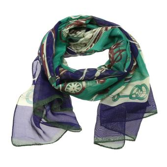 Harga Woan Fashion Flower Print Scarves Long Chiffon Soft Silk Scarves