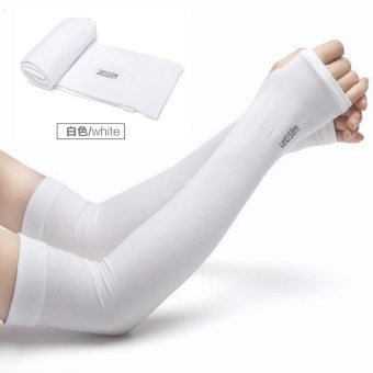 Harga Allwin Cooler Fibers Anti UV Arm Sleeves Hand Socks Let's Slim Outdoor Sports Sunscreen Bike Cycling Cuff Breathable Arm Warmers Sleeves (White) - intl