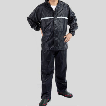 Harga Reflective Tape Adult Raincoat Set Navy Blue(EXPORT)
