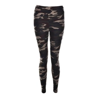 Harga Ladies Womens Sexy Camo Camouflage Stretch Trousers Army Green Pants Leggings Dark Green - intl