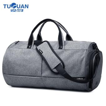 Harga Lan-store Premium Quality Male Bag--Travel Bag for Men Vintage Bucket Sytle Men's Canvas Travel Duffle Travel Tote Men Business Travel Shoulder Bag (Grey) - intl