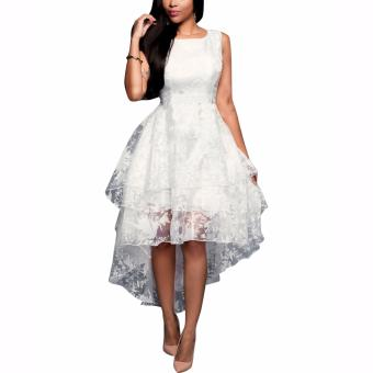 Harga Women Elegant White Sleeveless Organza Dresses Front Short Long Back Three Layers Cocktail Party Dress - intl
