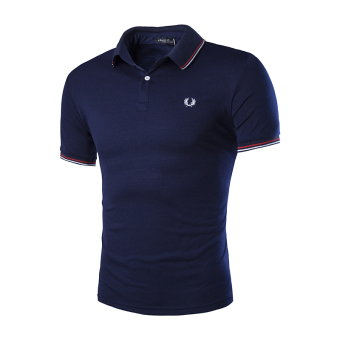 Harga Men's fashion casual short-sleeved T-shirt embroidered sport POLO shirt Korean version Navy