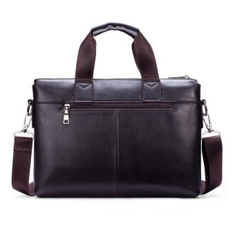 Harga POLO Men Leather Handbag Business Portable Bag Crossbody Tote (Black)