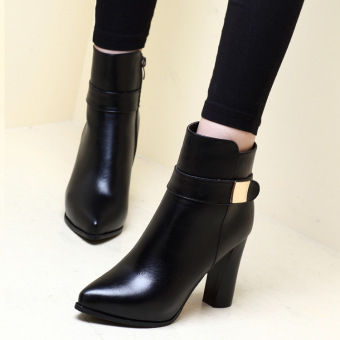 Harga Europe Style sexy 9.5cm high heel shoes Martin boots bare rough business women boots - intl