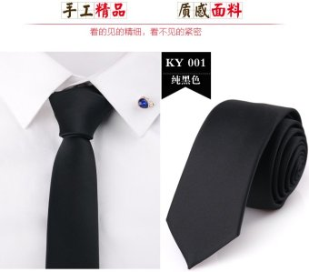 Harga 5CM korean version of the NARROW tie solid color glossy black male business casual wedding dress the groom fashion british style (Black)