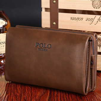 Harga Men Handbag Cowhide Leather Clutch Large Capacity Wallet Casual Wrist Bag Business Purse (Big Size Khaki)