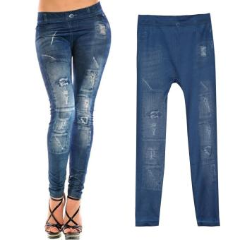 Harga Women's Denim Stretch Jean Leggings Blue