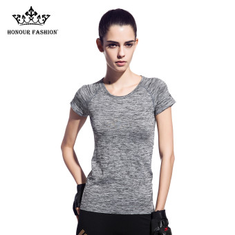 Harga Women's Dri-Fit Slim Sport Tees Top Short Sleeve Round Neck T-Shirt Grey fy-1526