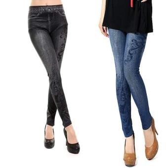 Harga MG musical note Pattern Stretch Skinny Jean Legging (Black) - intl