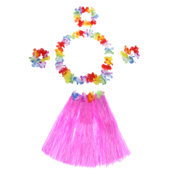 "Anself New Handmade Hawaiian Costumes 24"" Dance Kit Hawaii Hula-hula Hula Skirt 5PCS Set Men Grass Skirts - intl"
