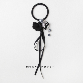 Harga Rubber Band hair ring Korean ribbon tie tousheng small fresh Sen female line flower head flower hair rope Cool simple ladies (Ribbon flowers black)