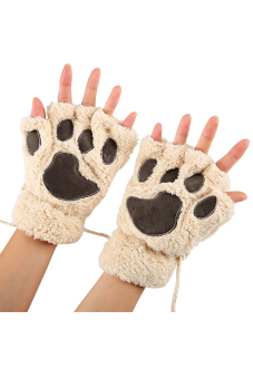 Harga Cyber Arshiner Women Girls Comfy Soft Plush Cat Bear Paw Claw Design Winter Fingerless Gloves (Beige)