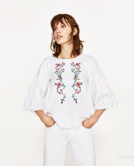 Harga Flowers in europe and america embroidery horn sleeve shirt embroidery shirt blouse