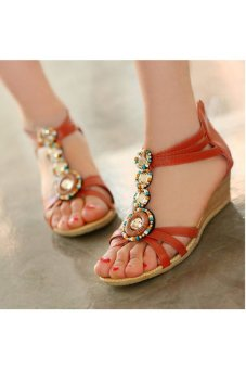 Wedge Mid heel Open Toe Strappy Sandals Red (EXPORT)