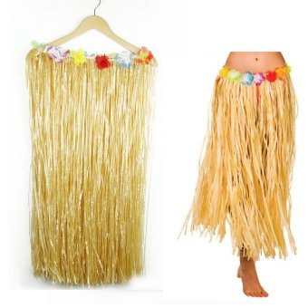 High Service Grass Hula Style Skirt 80cm Long Fancy Dress Luau Summer Beach Party 80cm Long - intl