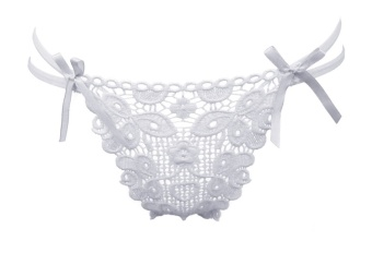 Harga Color White Sexy flower lace G-string ladies thong Low waist hip sexy underwear temptation thong 0091