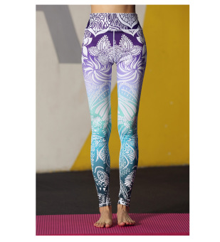 Harga Women's Print yoga pants stretch quick-drying yoga step foot sports pants