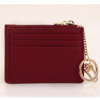 Fromb Cow Leather Card Holder Wallet with Key Ring (Wine) - intl