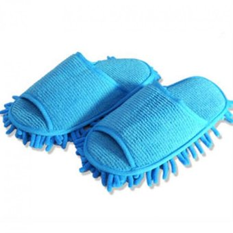 Harga 1 Pair High quality lazy couple home slipper chenille washable mopping slippers (Blue)(Intl)