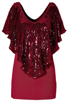 Harga Cyber Women Spangle Sequin Sparkle Glitter Tank Top Blouse T-Shirt (Red)
