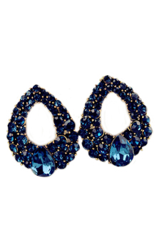 Blue lans Crystal Waterdrop Eardrops Earrings (Blue)