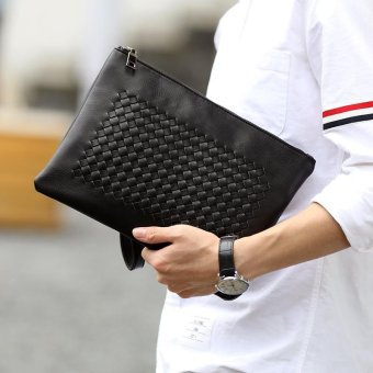 Harga Tidog The new hand woven bag leather male envelope IPAD clutch bag - intl