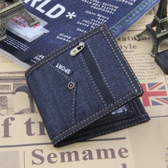 Harga Men's Jean Canvas Casual Short Wallets MWT-NZC007 - intl