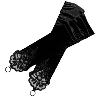 Women Bridal Luxurious Fingerless Dress Gloves Satin Style with Lace Beading for Wedding Party Prom Performance Black - intl