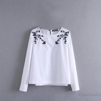 Harga Europe and america embroidery embroidered pullover crew neck long sleeve shirt
