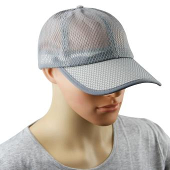 Harga Mens Women Summer Sport Long Peak Caps Baseball Golf Caps Fast Dry Sun UV Protection Mesh Breathable Sun Hats Trucker Caps Adjustable Large Size 56-60cm, Light Grey - intl