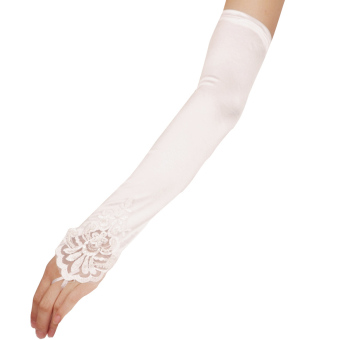Fingerless Satin Lace Bridal Gloves Beige