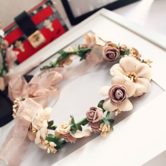 Harga Sen female Garland headdress hair accessories wreath head flower seaside resort simulation flowers bridesmaid decorative hat accessories F177 (Flower paragraph)
