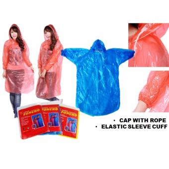 Harga Disposable Poncho - Buy 5 Get 1 Free (Adult Cap With Rope Blue)