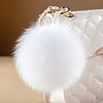 Ball pendant really cute plush fox fur ball car keychain bag pendant plush ball ornaments (Real hair ornaments--white)