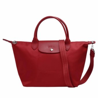 Harga Longchamp Medium Neo Le Pliage 1515 Nylon Crossbody Series (Ruby Red)
