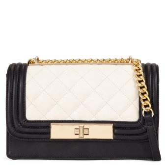 Harga ALDO Derogali faux leather quilted crossbody chain bag (black ivory)