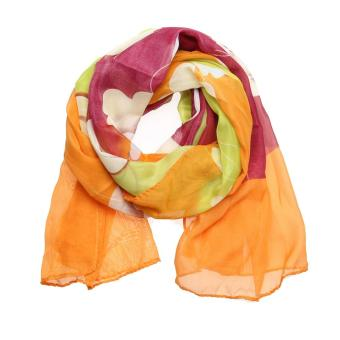 Harga Woan New Design Long Chiffon Silk Scarves Flower Print Scarves